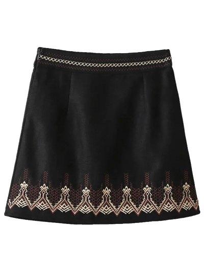 Embroidered Corduroy Skirt - BLACK L Mobile