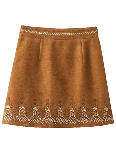 Embroidered Corduroy Skirt - KHAKI S Mobile