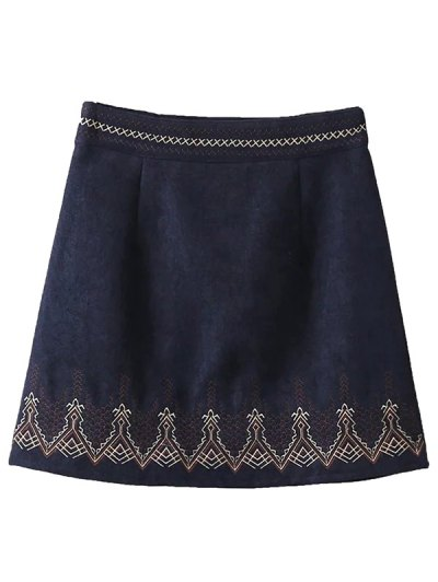 Embroidered Corduroy Skirt - CADETBLUE L Mobile