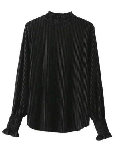 Frilled Ruffles Corduroy Blouse - BLACK ONE SIZE Mobile