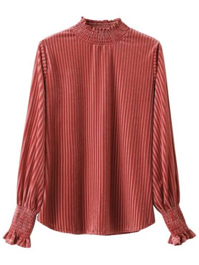 Frilled Ruffles Corduroy Blouse - RED ONE SIZE Mobile