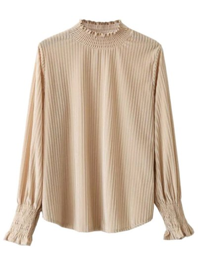 Frilled Ruffles Corduroy Blouse - BEIGE ONE SIZE Mobile