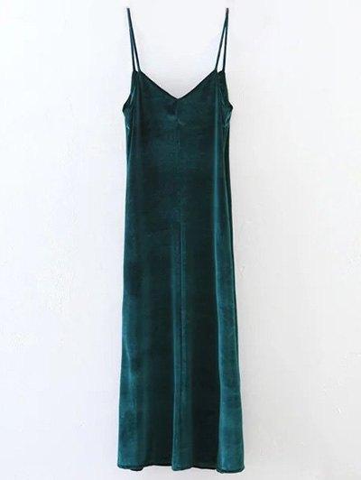Casual Velvet Maxi Dress - GREEN S Mobile