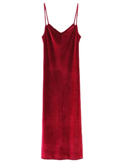 Casual Velvet Maxi Dress - WINE RED S Mobile