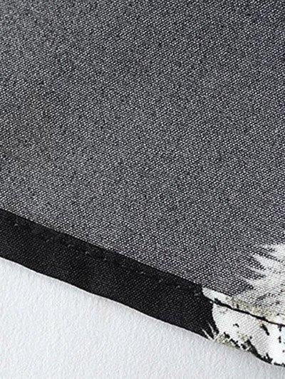Kittens Print Long Sleeve Dress - BLACK S Mobile