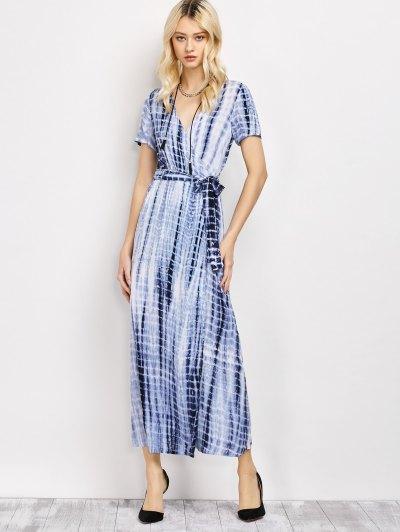 Tie-Dyed Plunge Neck Surplice Maxi Dress - DEEP BLUE 2XL Mobile