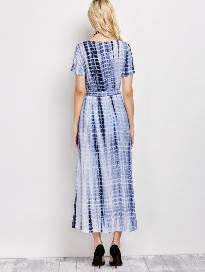 Tie-Dyed Plunge Neck Surplice Maxi Dress - DEEP BLUE L Mobile