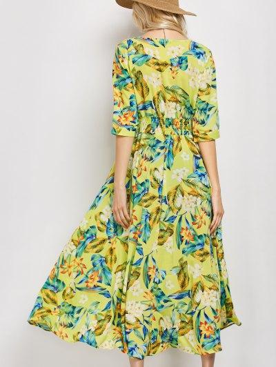 Plunge Neck Bohemian Tropical Floral Maxi Dress - FLORAL M Mobile