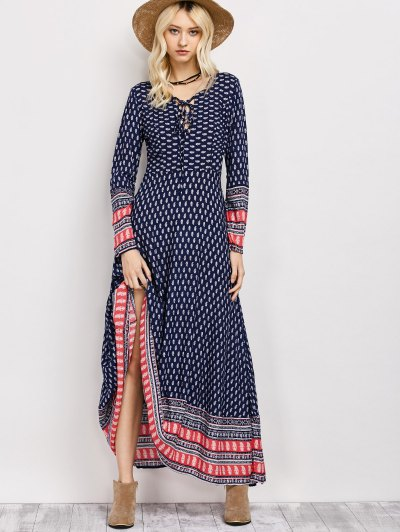 Retro Print Lace Up Long Dress With Sleeves - BLUE S Mobile
