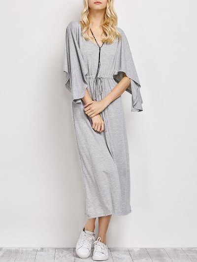 V Neck Drawstring Loose Maxi Dress - LIGHT GRAY 2XL Mobile