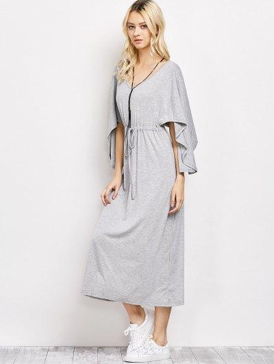 V Neck Drawstring Loose Maxi Dress - LIGHT GRAY M Mobile