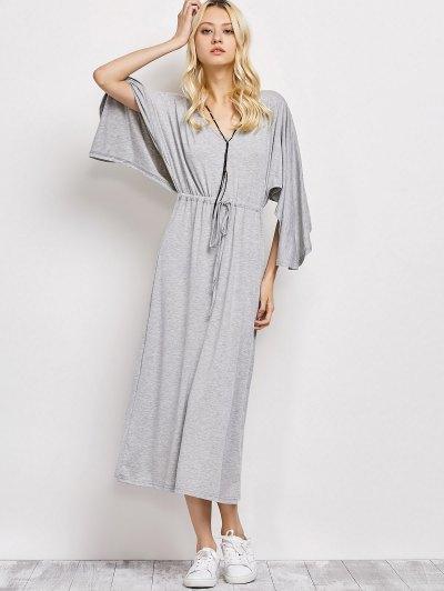 V Neck Drawstring Loose Maxi Dress - LIGHT GRAY S Mobile