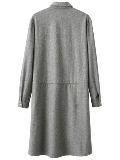 Embroidered Long Sleeve Tunic Shirt Dress - GRAY S Mobile