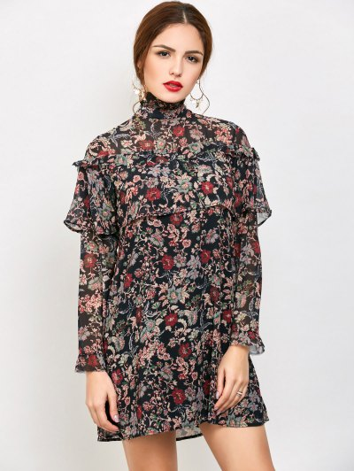 Long Sleeve Tiny Floral Ruffles Dress - FLORAL L Mobile