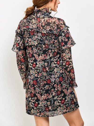 Long Sleeve Tiny Floral Ruffles Dress - FLORAL M Mobile