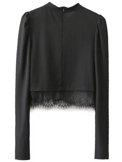 Lace Panel Stand Collar Cropped Top - BLACK L Mobile