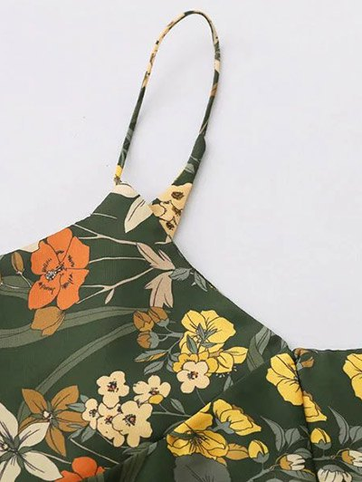 Cut Out Tiny Floral Slip Dress - ARMY GREEN M Mobile