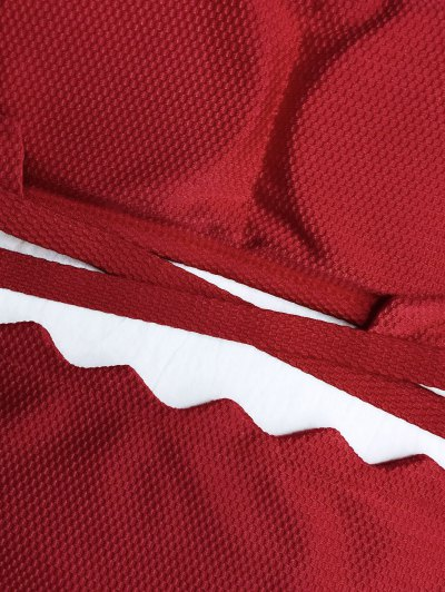 Scalloped High Neck Tie Back Bikini - RED S Mobile