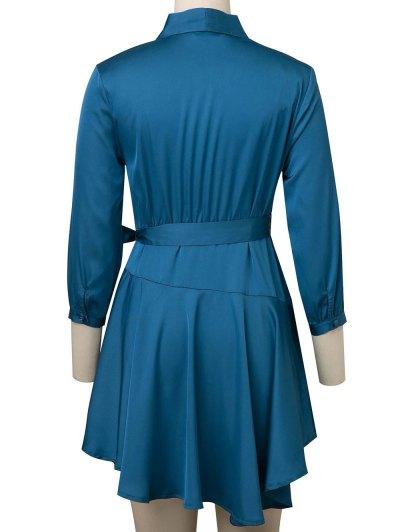 Satin Wrap Robe Dress - PEACOCK BLUE S Mobile