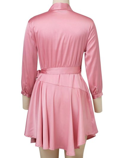 Satin Wrap Robe Dress - PINK L Mobile