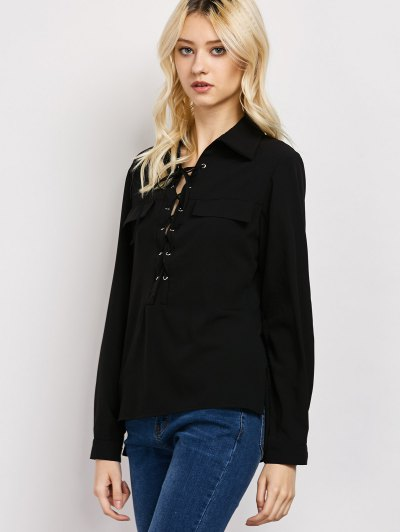 Wrap Cut Out T-Shirt - BLACK L Mobile