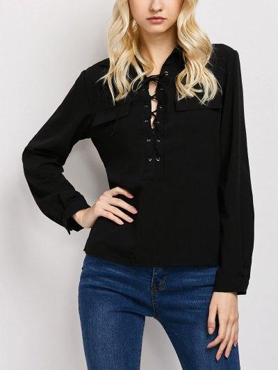 Wrap Cut Out T-Shirt - BLACK M Mobile