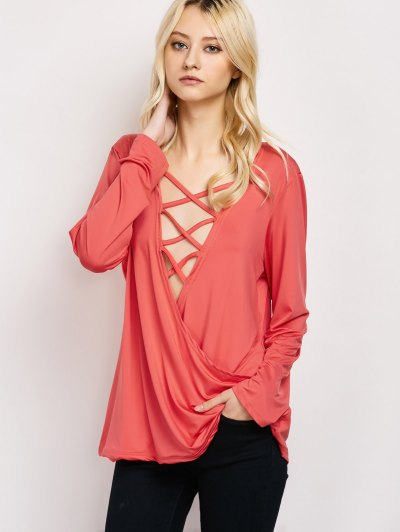 Wrap Cut Out T-Shirt - RED M Mobile