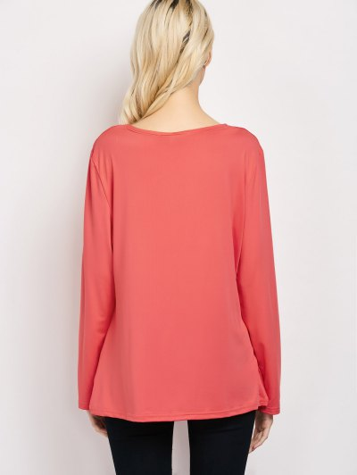 Wrap Cut Out T-Shirt - RED S Mobile