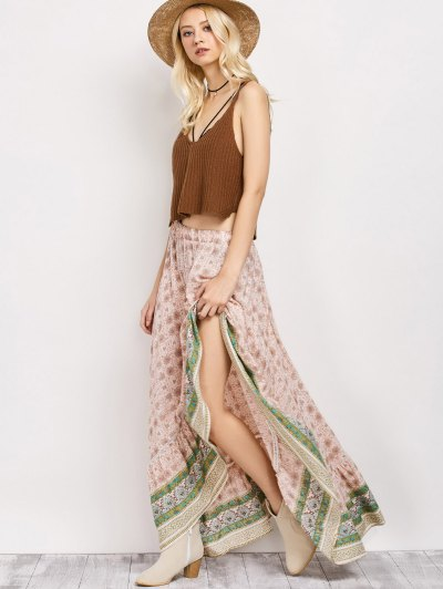 Patterned High Low Maxi Boho Skirt - PINK M Mobile