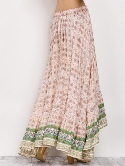 Patterned High Low Maxi Boho Skirt - PINK S Mobile
