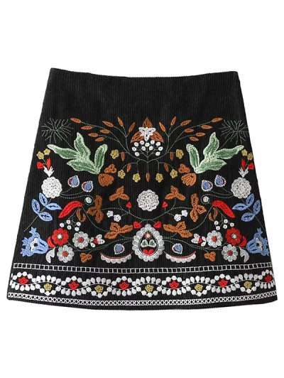 Corduroy Embroidered A-Line Skirt - BLACK S Mobile