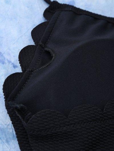 Scalloped High Rise Halter Bikini Set - BLACK M Mobile