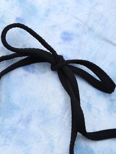 Scalloped High Rise Halter Bikini Set - BLACK S Mobile