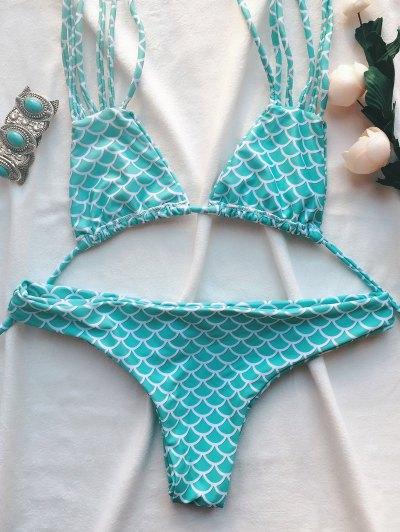 Strappy Fish Scales Print Halter Bikini Set - TURQUOISE BLUE M Mobile