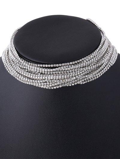 Rhinestone Layered Necklace - WHITE  Mobile