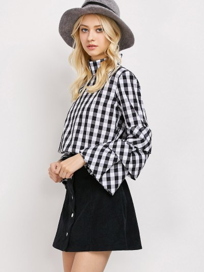 High Neck Checked Blouse - PLAID L Mobile