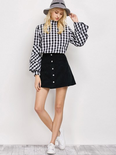 High Neck Checked Blouse - PLAID M Mobile