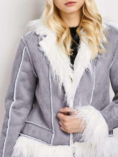Faux Fur Trim Faux Shearling Jacket - GRAY L Mobile