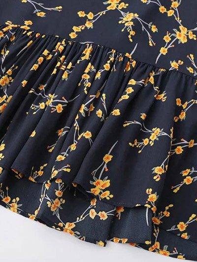 Spaghetti Strap Ruffle Floral Print Dress - CLARET ONE SIZE Mobile