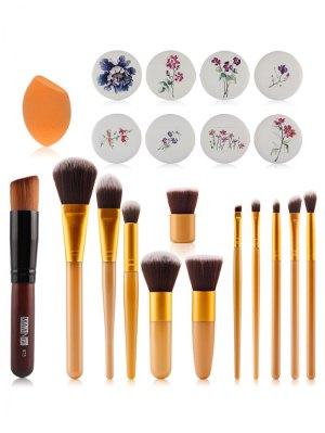 Pinceaux De Maquillage + Air Puffs + Beauty Blender - Jaune