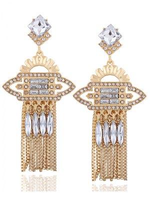 Geometric Water Drop Rhinestone Earrings - Champagne