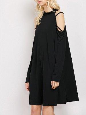 Long Sleeve Loose Cold Shoulder Swing Dress - Black