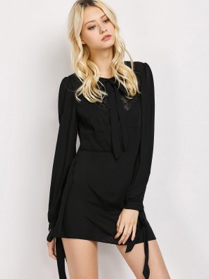 Lace Panel A-Line Dress - Black