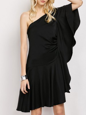One Shoulder Asymmetric Semi Formal Dress - Black