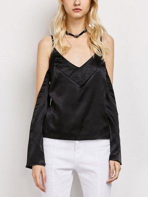 Cold Shoulder Satin Cami Top - Black