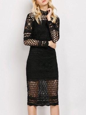 Long Sleeve Geometric Lace Dress - Black