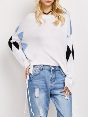 Lace Up Color Block Oversized Sweater - White