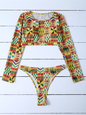 Round Neck Long Sleeves Bikini Set