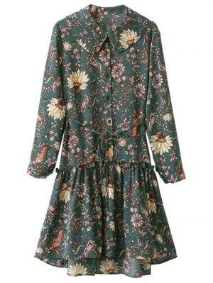 Frilled Floral Vintage Dress - Green