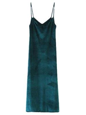 Casual Velvet Maxi Slip Dress - Green